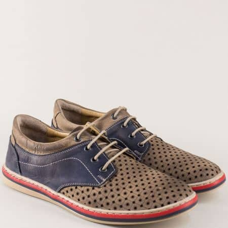 Мъжки обувки от естествена кожа в син и бежов цвят с перфорация 471045dpsbj
