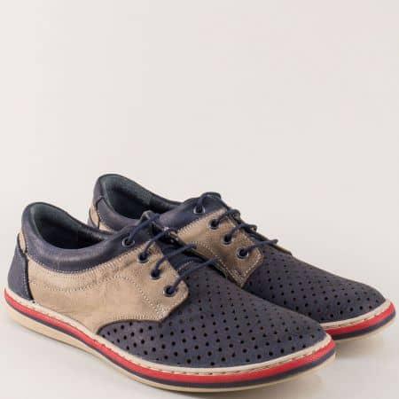 Кожени мъжки обувки в син и бежов цвят на равно ходило 471045dpss