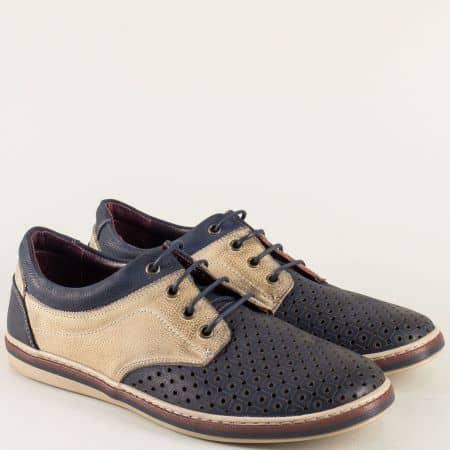 Кожени мъжки обувки с перфорация в синьо и бежово 471045dsbj
