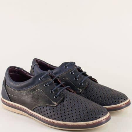 Кожени мъжки обувки с перфорация в черно и синьо 471045dsch