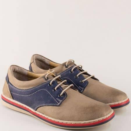 Кожени мъжки обувки в бежово и синьо на равно ходило 471045psbj