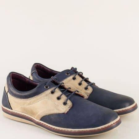 Мъжки обувки от естествена кожа в синьо и бежово 471045sbj
