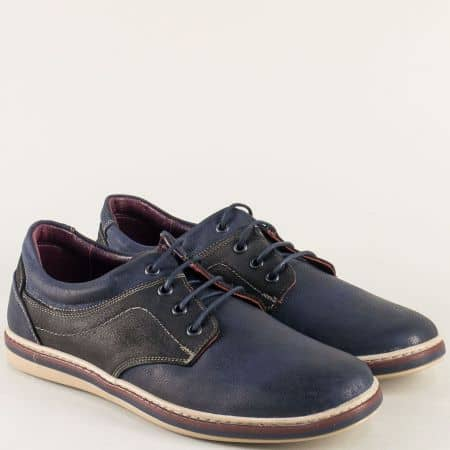 Кожени мъжки обувки с връзки в тъмно синьо и черно 471045sch