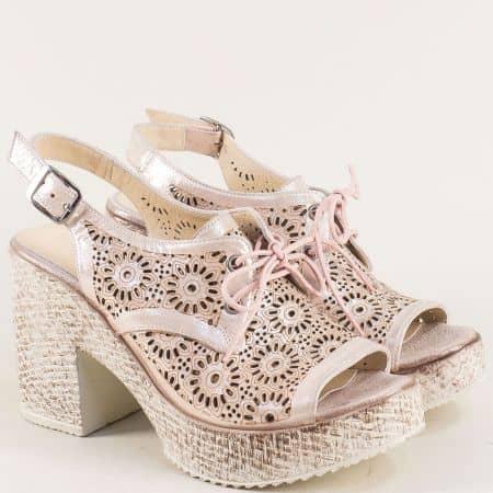 Розови дамски сандали на висок ток с връзки и катарама 471655srz