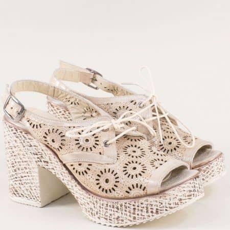 Златни дамски сандали от сатен и естествена кожа  471655szl