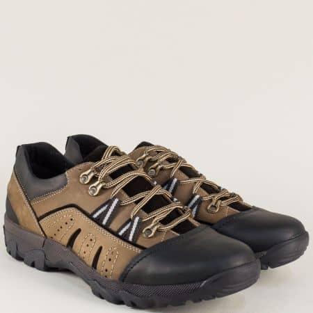Бежови мъжки обувки с връзки от естествен набук 4719nbj
