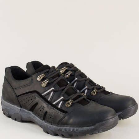 Черни мъжки обувки с връзки на грайферно ходило 4719nch