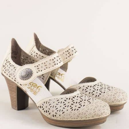 Бежови дамски сандали със затворени пръсти и пета 47355bj