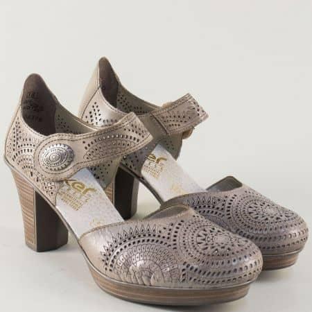 Перфорирани дамски обувки на висок ток в сив цвят 47365bj