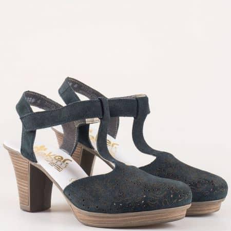 Дамски тъмно сини сандали на висок ток от естествен велур с перфорация на шито ходило с кожена стелка- Rieker  47376vs