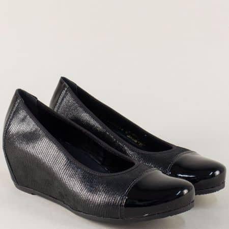 Черни дамски обувки на клин ходило с кожена стелка 4764ch