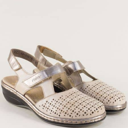 Бежови дамски сандали от естествена кожа с перфорация 47775bj