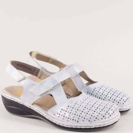 Сребърни дамски сандали със затворени пръсти- Rieker 47775sr