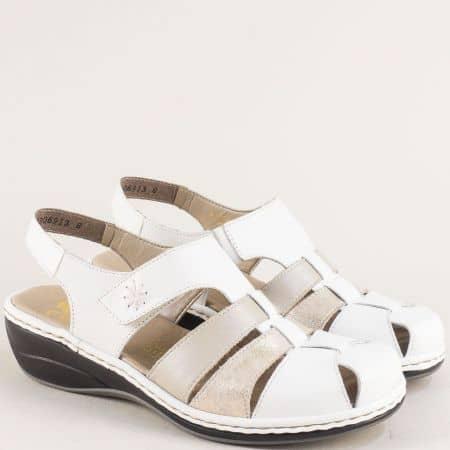Бели дамски сандали от естествена кожана нисък ток 47778b