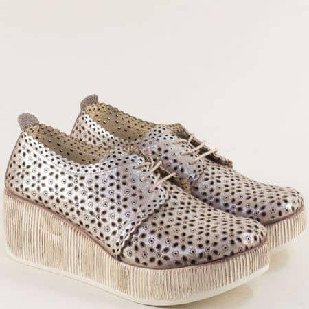 Сиви дамски обувки от сатен и естествена кожа на платформа 478162ssv