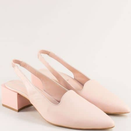 Бежови дамски обувки с отворена пета и заострен връх 4811463bj
