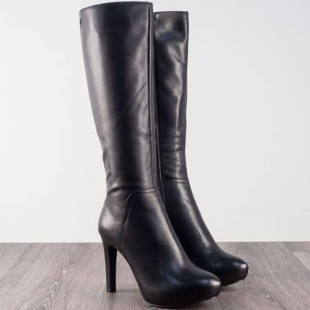 Черни дамски ботуши на висок ток и платформа- Eliza  4814598ch