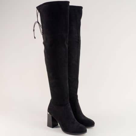 Черни дамски ботуши, тип чизми на стабилен висок ток 482795vch