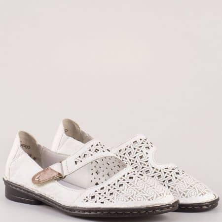 Швейцарски дамски обувки- шити на нисък ток от бяла естествена кожа с лазерна перфорация и лепка 48462b