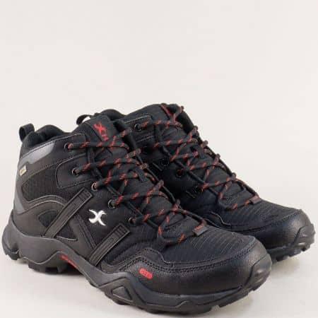 Спортни мъжки боти в черен цвят с връзки- KNUP 4856-45ch