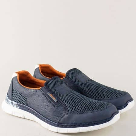 Спортни мъжки обувки в син цвят с два ластика- Rieker 4870s