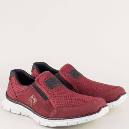 Спортни мъжки обувки в бордо на анатомично ходило 4873vbd
