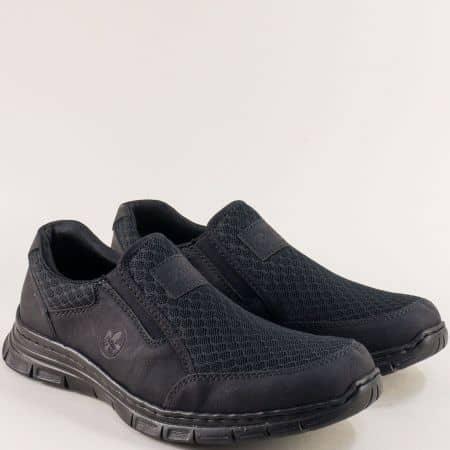 Черни мъжки обувки на антистрес ходило- RIEKER 4878ch