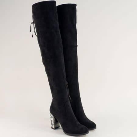Черни дамски ботуши над коляното на луксозен висок ток 490105vch