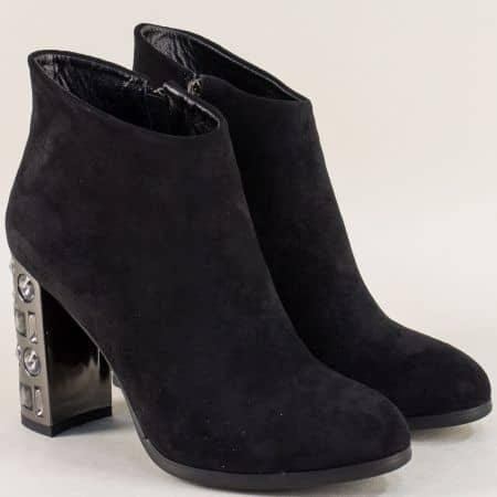 Дамски боти в черен цвят на луксозен висок ток 49018vch