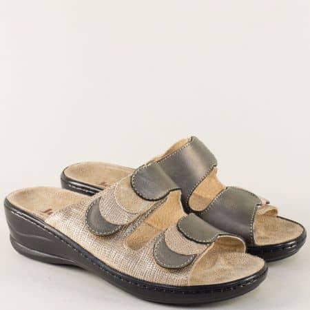 Анатомични дамски чехли в бежово и бронз с лепки 4918zl