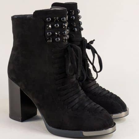 Черни дамски боти на висок ток с декорация- ELIZA 4950030vch