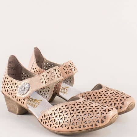 Розови дамски сандали на нисък ток от естествена кожа 49766rz