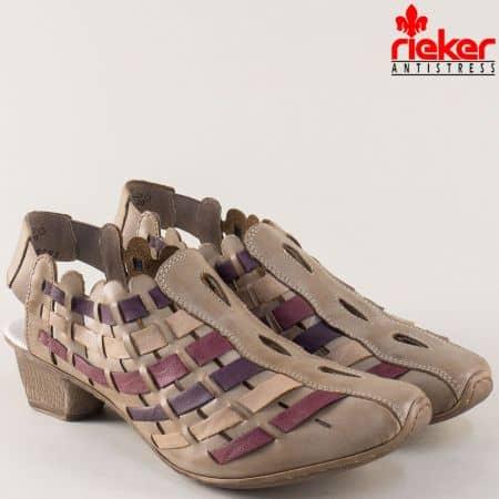 Дамски обувки Rieker от естествена кожа на среден ток в бежов, бордо и лилав цвят 49781bj