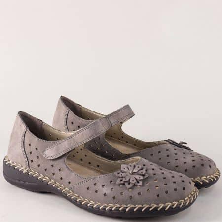 Перфорирани дамски обувки от сив естествен набук- Rieker  49865sv