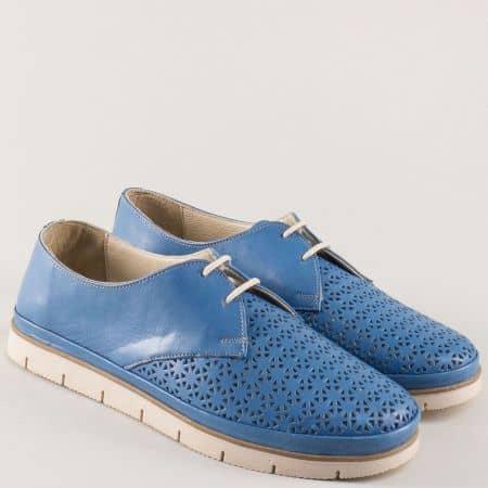 Перфорирани дамски обувки от синя естествена кожа 498s