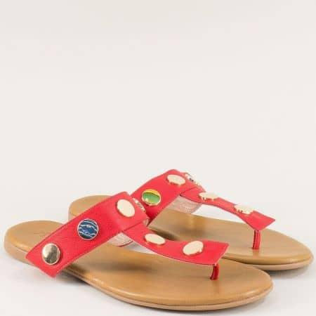 Червени дамски чехли от естествена кожа на равно ходило 5003chv