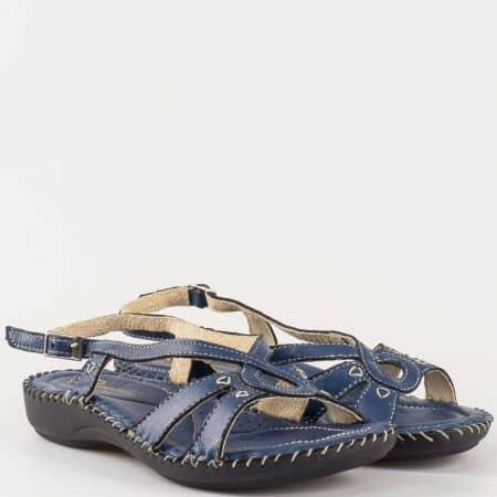 Тъмно сини дамски сандали изцяло от естествена кожа на удобно ходило- български производител 5005s