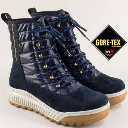 Сини дамски боти на платформа с Gore-Tex мембрана 500956s