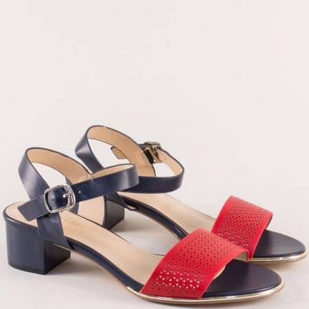 Дамски сандали в червено и тъмно синьо- MAT STAR 501008schv