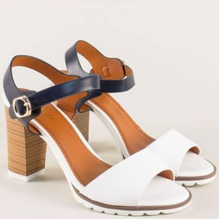 Дамски сандали в бяло и синьо на висок ток 501009bs