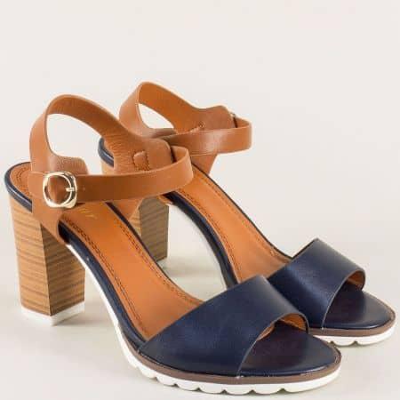 Дамски сандали в син и кафяв цвят на ток 501009sk