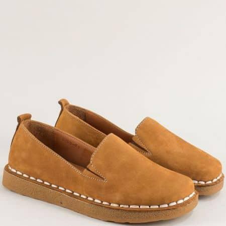 Кафяви дамски обувки от естествен набук и каучук 50100nk