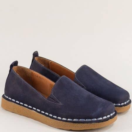 Тъмно сини дамски обувки от естествен набук и каучук 50100ns