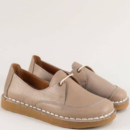 Бежови дамски обувки от естествена кожа и каучук  50104bj