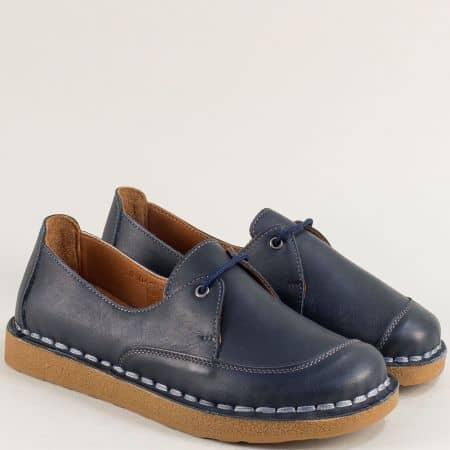 Кожени дамски обувки на каучуково ходило в син цвят 50104s