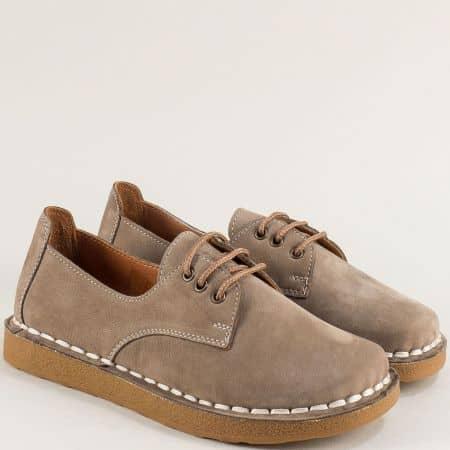 Велурени дамски обувки на каучуково ходило в бежово 50105nbj