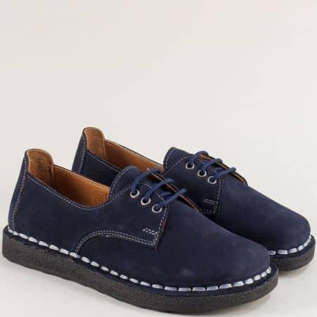 Велурени дамски обувки с кожена стелка в тъмно синьо 50105ns