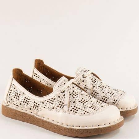 Бежови дамски обувки от 100% кожа на шито и гъвкаво ходило 50111bj