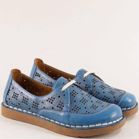 Сини дамски обувки от естествена кожа с перфорация  50111s