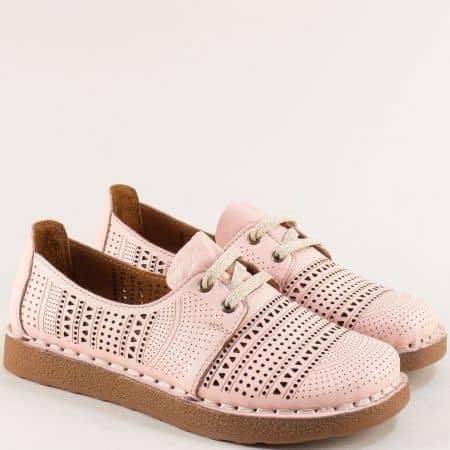 Розови дамски обувки от естествена кожа с перфорация 50114rz